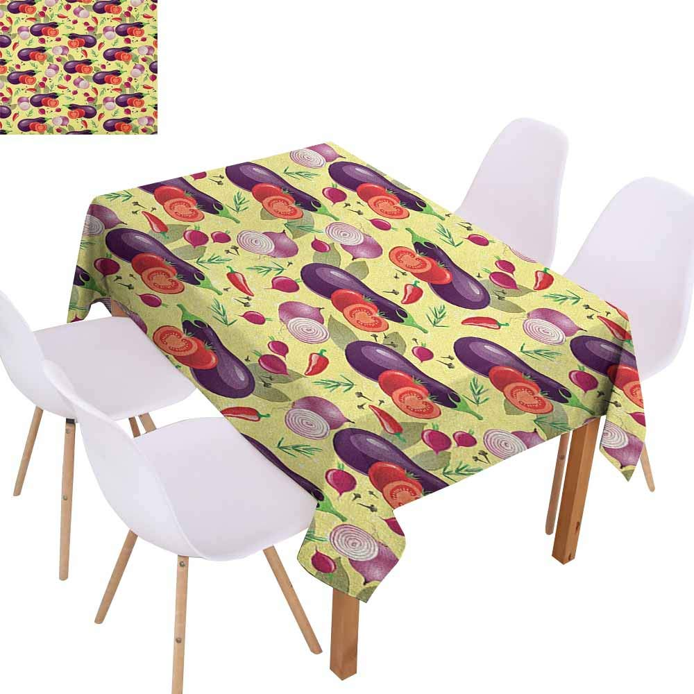 Rectangular Tablecloth Eggplant Eggplant Tomato Relish Onion Going Green Eating Organic Tasty Preserve Nature Table Decoration W50 xL80 Multicolor by Marilec