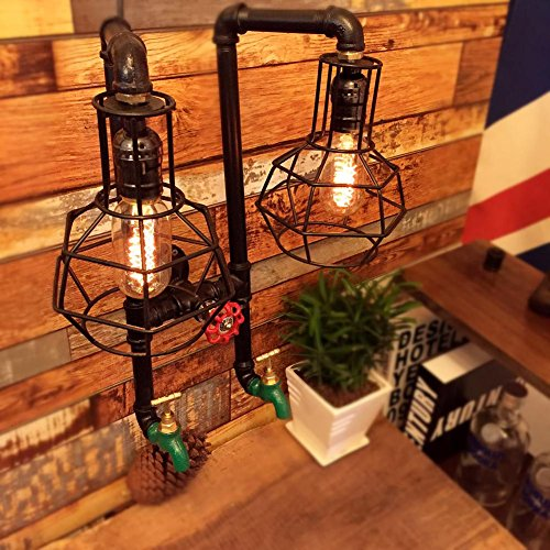 American Industrial retro Iron art Iron net Double head Water pipe led Wall lamp light/Creative living room Restaurant Clothing store Cafe Decoration Lighting/36 44cm, black, Excluding lamp