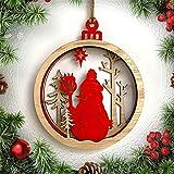Large Wooden 3D Santa Snowman Christmas Ball Pendant Christmas Hanging Decor Christmas Decoration