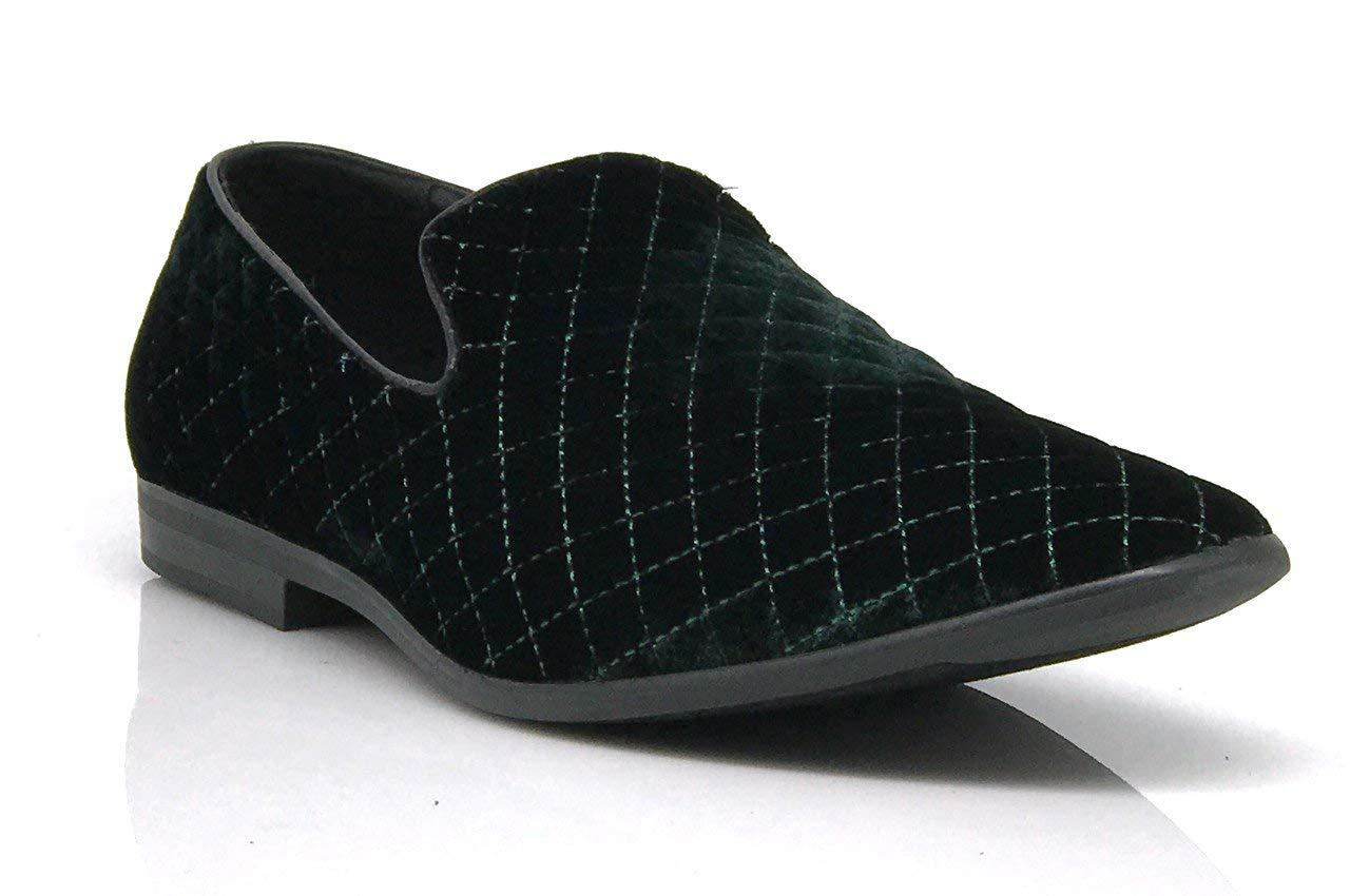 07d612fb1e10d Galleon - Enzo Romeo Harell05 Men's Vintage Velvet Dress Shoes Classic  Tuxedo Slip On Loafers (10, Green_harell01)