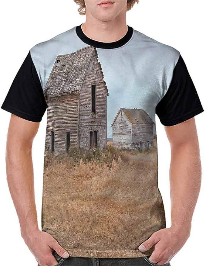 BlountDecor Casual Short Sleeve Graphic Tee Shirts,Abandoned Wooden Farmhouse Fashion Personality Customization