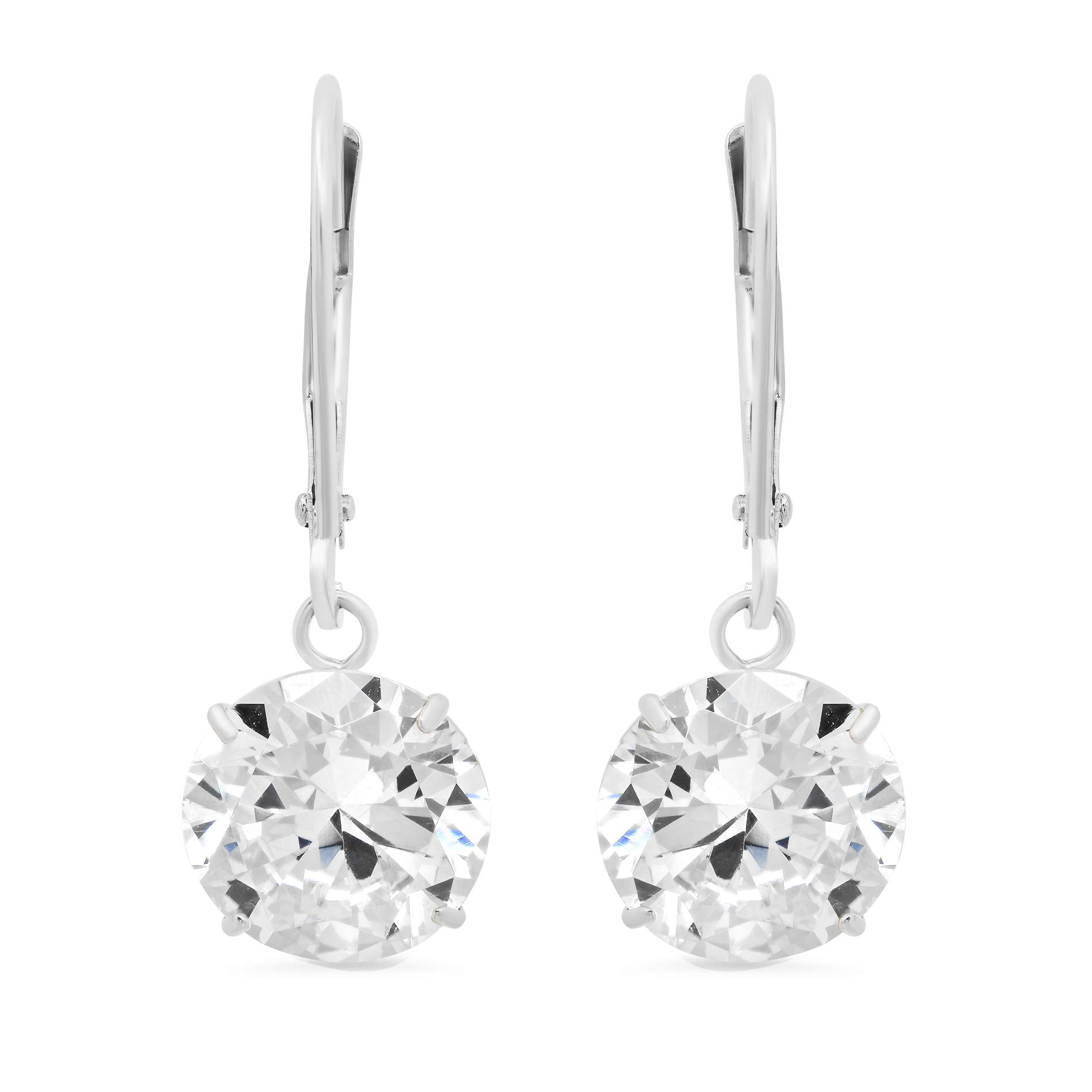 14k White Gold Leverback Earrings with Cubic Zirconia Dangles | 5 CT.TW. | Gift Boxed