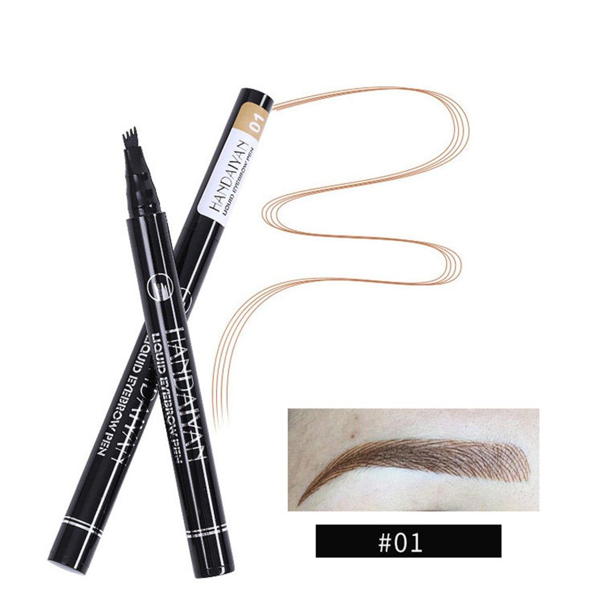 AIKIMUSE Eyebrow Tattoo Penwith 4 Tips, Liquid Long Lasting Brow Pencil Waterproof Smudge-prooffor Eye Makeup (03)
