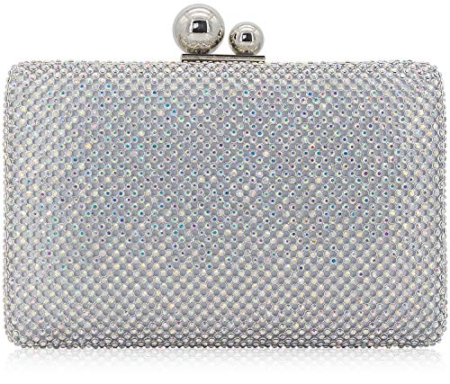 Dexmay Rhinestone Crystal Clutch Evening Bag for Cocktail Prom Party 2 Balls Clasp Women Boxed Purse AB Silver ()