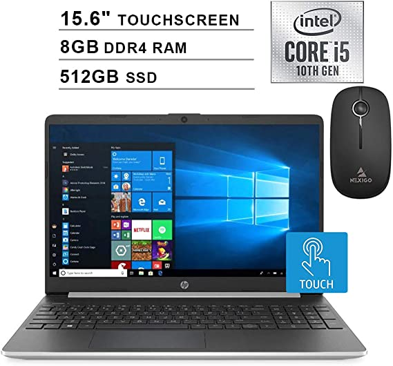 2020 HP Pavilion 15.6 Inch Touchscreen Laptop| 10th Gen Intel Core i5-1035G1 (Beats i7-7500U)| 8GB RAM| 512GB PCIe SSD| WiFi| Bluetooth| Webcam| Windows 10 + NexiGo Wireless Mouse Bundle