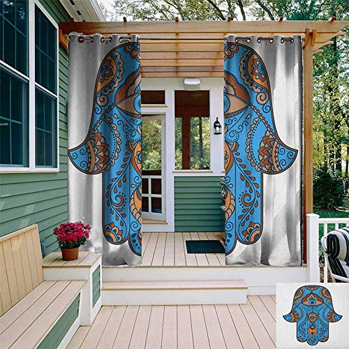 (Hamsa, Sun Zero Outdoor Curtains, Sign of Protection with Curly Paisley Pattern Vintage Amulet All Seeing Eye, Fabric by The Yard W96 x L96 Inch Blue Brown Vermilion)