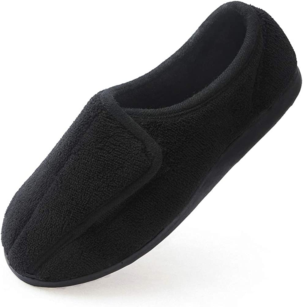 Womens Wide Fit Slippers Ladies Wide Fit Slippers Memory Foam Rubber Sole Size