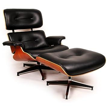 Kardiel Eames Style Plywood Lounge Chair & Ottoman, Black Aniline/Cherry