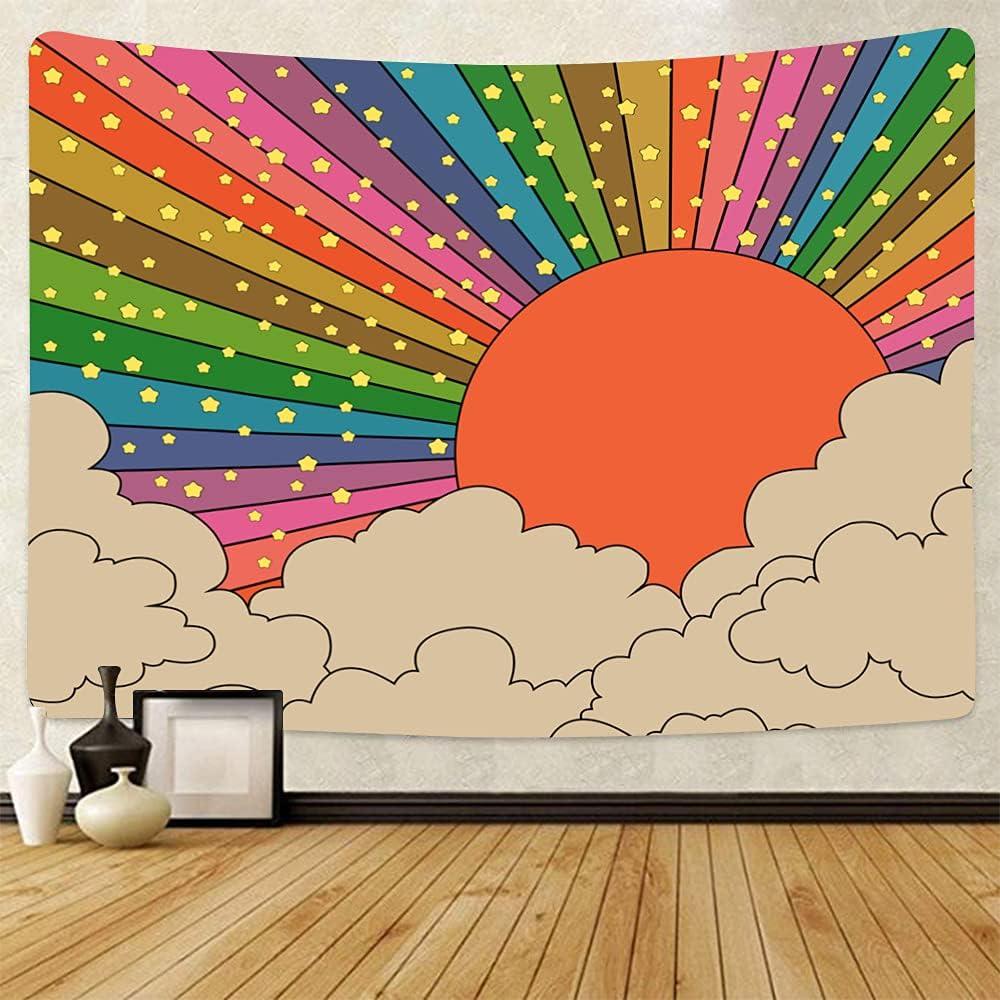 Rainbow Sun Tapestry 70s Wall Hanging Vintage Sunrise Wall Tapestry Boho Rainbow Star Cloud Decor for Girls Bedroom Nursery Playroom Home Decor (51 x 59inch, A3)