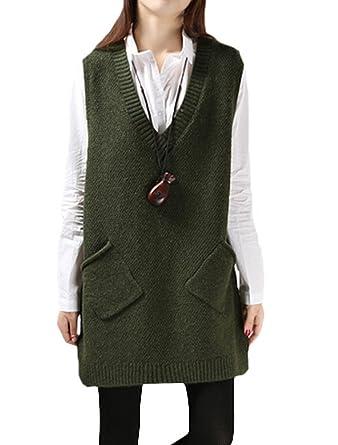 MatchLife Damen Ohne Arm Pullover V-Ausschnitt Weste Armee Grün