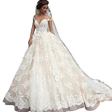 Lovelybride Bateau Cap Sleeve Lace Appliques Ball Gown Wedding ...