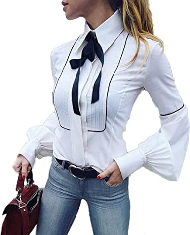 QinMM Camisa de Corbata de Oficina de Mujer, Blusa Manga Linterna ...