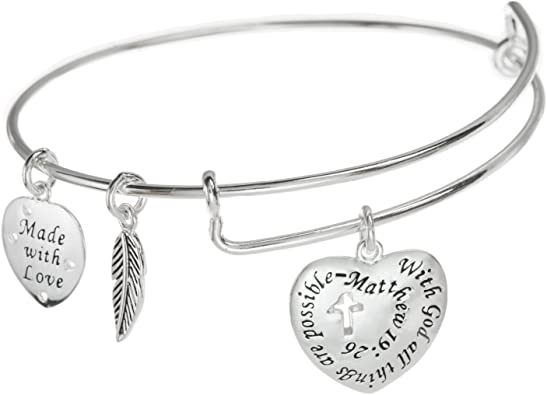 Jesus and Cross Expandable Bangle Bracelet with Charms