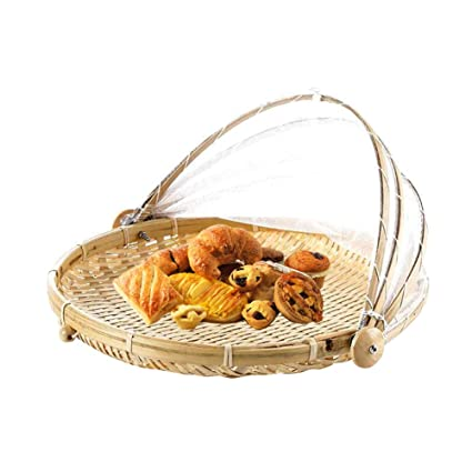 Hand Woven Food Serving Tent Basket, Fruit Vegetable Bread Cover Storage  Container Outdoor Picnic
