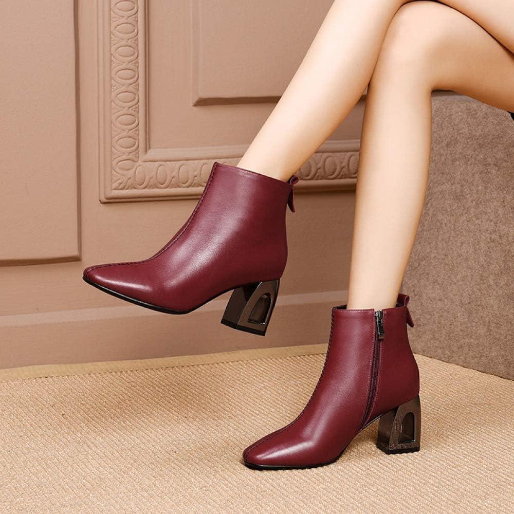High Heels Damesschoenen met pluche voor de herfst en de winter, aangenaam ademend, leer, casual retro, modieus, feest, afstudeerbal, Martin rood
