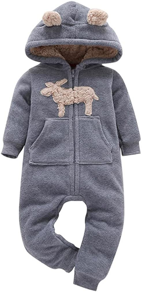 6-24 Months Infant Cartoon Ears Hooded Snowsuits Winter Warm Kids Bodysuits Playsuits Clothes BURFLY Baby Boys Girls Hooded Romper Jumpsuit