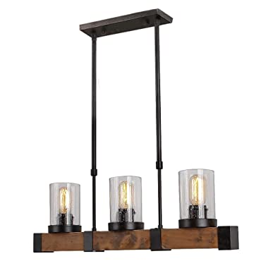Anmytek Metal Wood and Glass Chandelier Pendant Light Retro Rustic Loft Antique Lamp Edison Vintage Pipe Sconce Decorative Light Fixtures and Ceiling Light Luminaire (Three Lights)