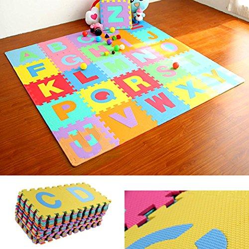 Transer Kids Puzzle Alphabet, Numbers, 36 Tiles EVA Foam Play Mat by Transer