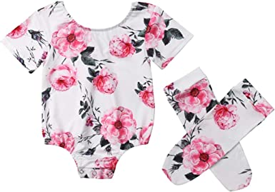 Cute Newborn Baby Girl Floral Clothes Long Sleeve Romper+Socks Outfit Set 0-18M