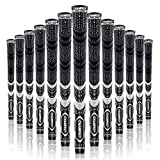 Champkey MCS Golf Grips Set of 13 (5 Oz Solvent,Blade,15 Tapes & Vise Clamp Available)-Choose Between 13 Grips & All Repair Kits and 13 Grips & 15 Tapes(Black,M)