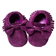 Voberry Baby Boys Girls Tassel Bow Soft Sole PU Leather Loafers Moccasin Sneakers (6~12 Month, Purple)