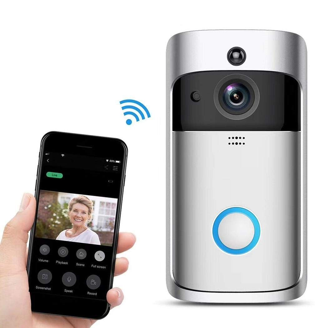 Queind Smart Home WiFi Video Doorbell 720P HD Security Camera with 166-Degree Wide Angle Lens Two-Way Audio PIR Motion Detection Night Vision Wireless doorbell