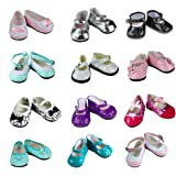 Barwa 5 Pairs Shoes Fits 18 Inch American Girl Dolls Xmas Gift