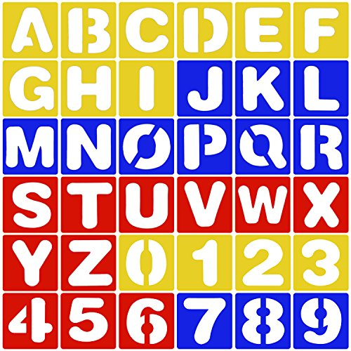 Maxdot 36 Pieces Alphabet and Number Stencils Set Plastic Painting Stencils for Learning, Scrapbooking and DIY Crafts, 3 Colors