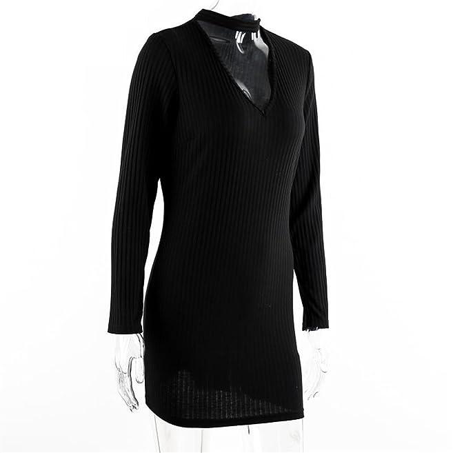 Amazon.com: DaveDu apparel outono sexy halter malha dress inverno mulheres elegantes bodycon dress casual vestidos curto vestidos de camisola preta: ...