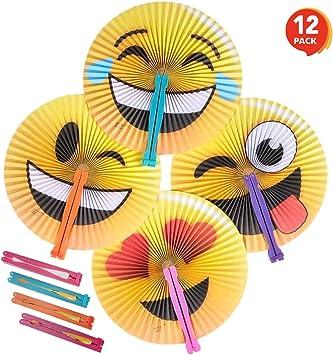 Amazon.com: ArtCreativity Emoji abanicos plegables de mano ...