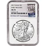 #7: 2017 American Silver Eagle (1 oz) Early Releases 225th Anniversary Label $1 MS70 NGC