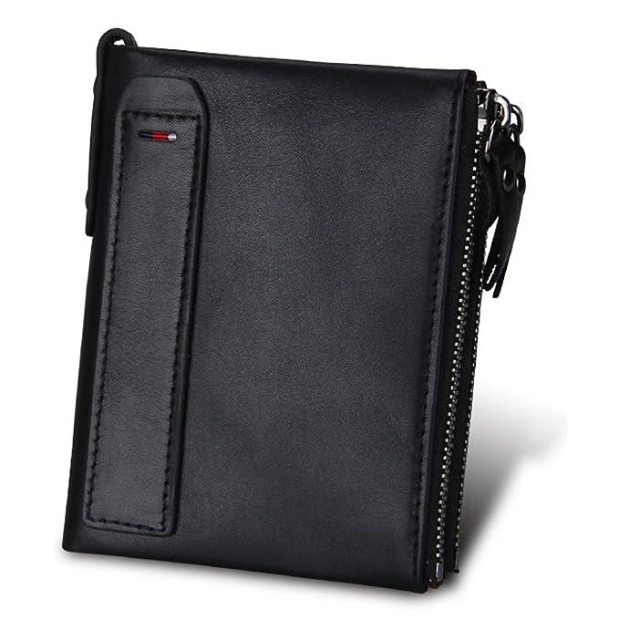 f3fe6803561b Bi-Burning Men RFID Blocking Wallet Vintage Genuine Leather Card Holder