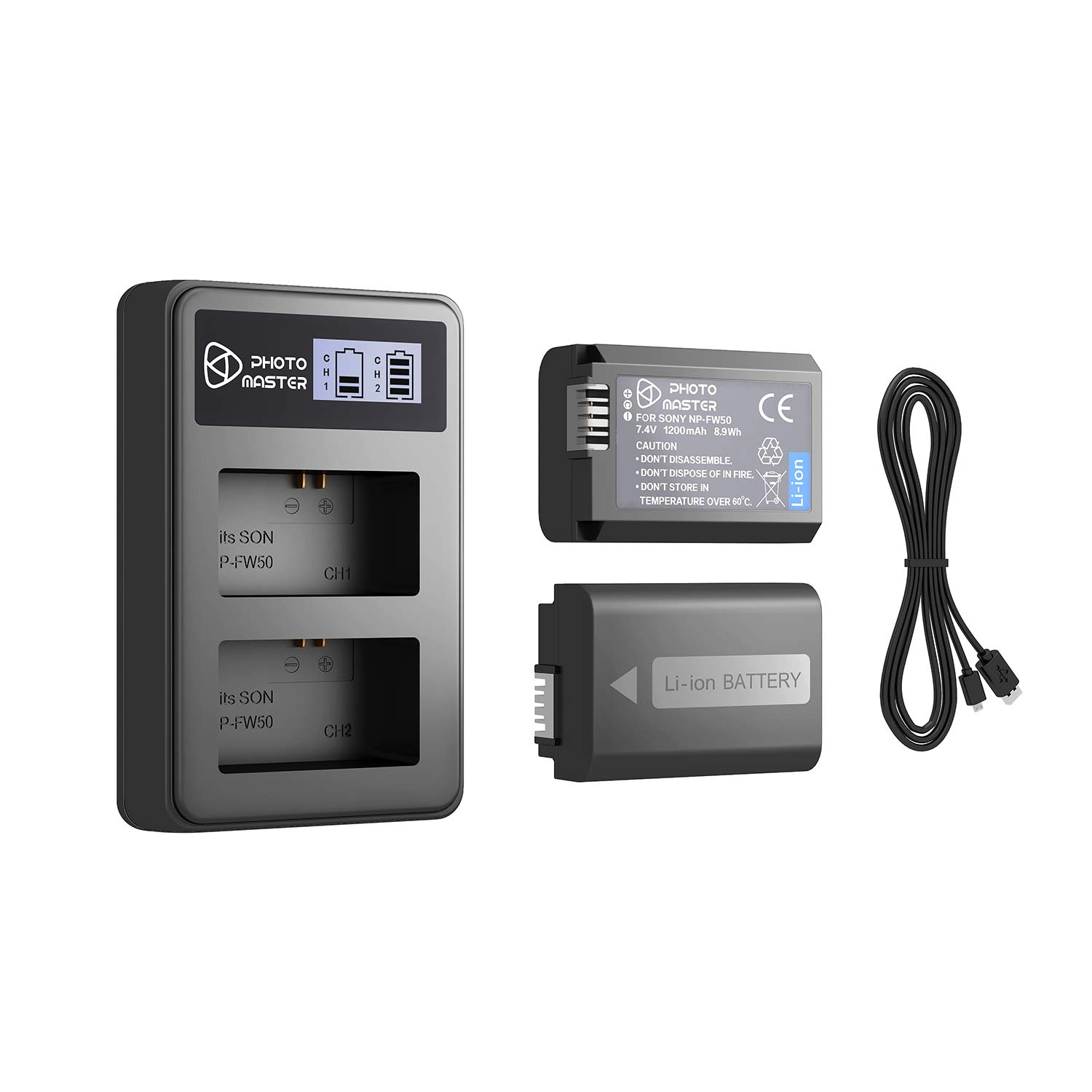 LCD Dual Battery Charger For Sony NP-FW50 //Alpha A6000 A6300 A6500 A7 A7r A7S II