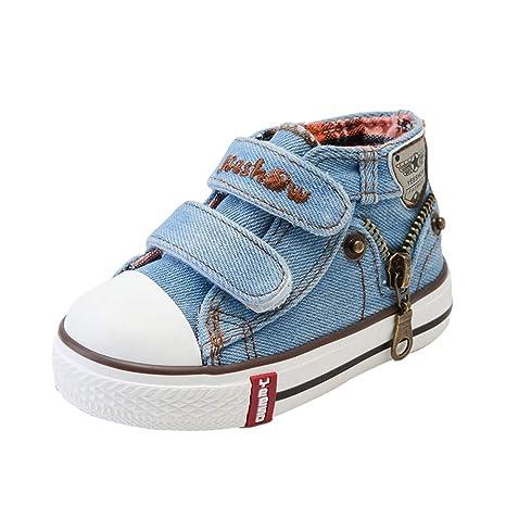 Niños Niñas Zapatillas de Tela, Moda Casuales al Aire Libre Zapatos Planas con Suela Blanda