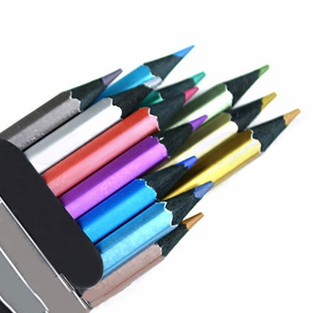 12 Count Metallic Colored Pencils Assorted Coloring Pencil Set Wooden Drawing Pencils for Art Drawing Adult Coloring Book MXXGMYJ 4336946039