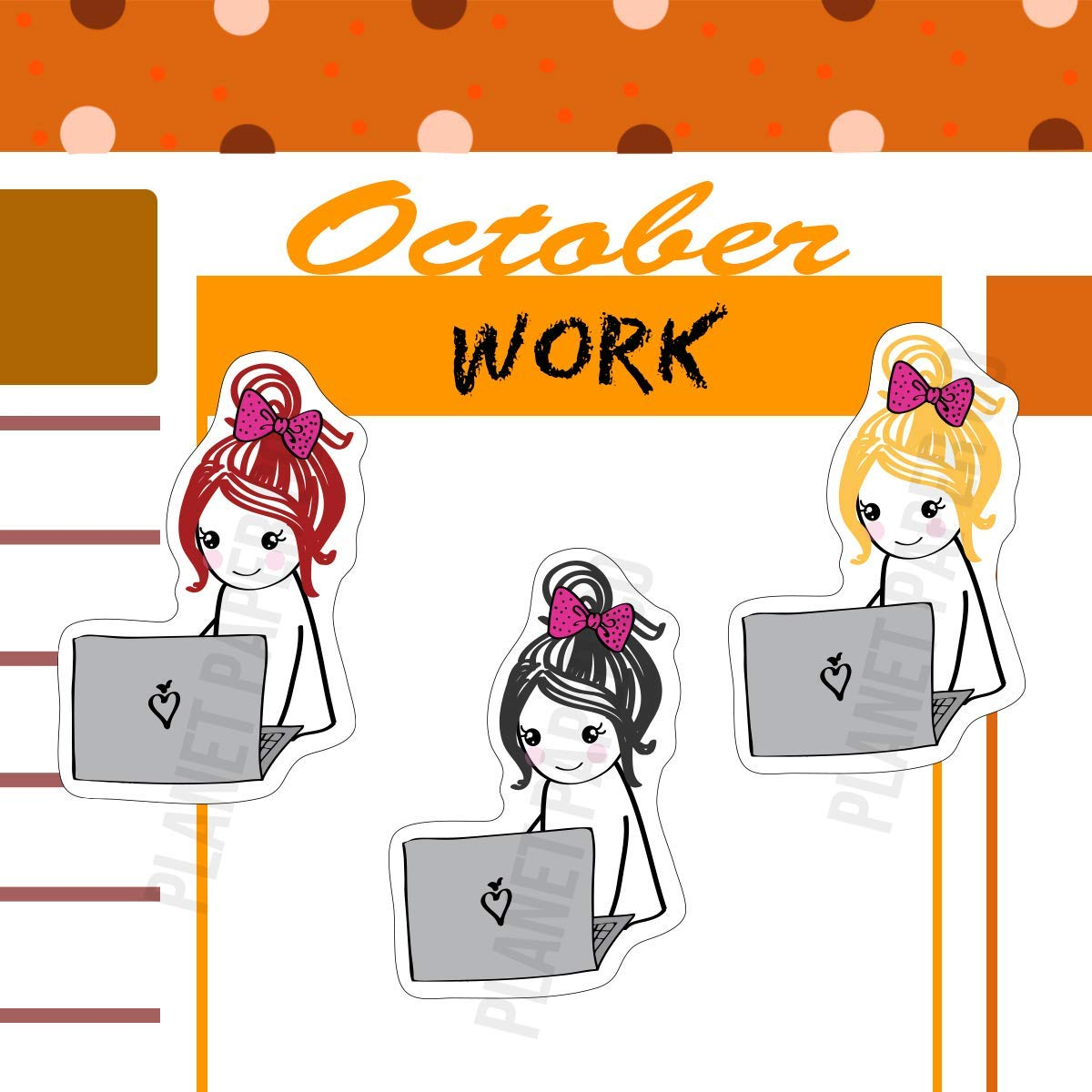 Homework time 16//20 Pcs Meeting time Work Day Planner Girl Stickers 7 Different Hair Colors