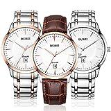 BUREI Mens Simple Dress Quartz Watches with Simple Dial Date Calendar Calfskin Leather