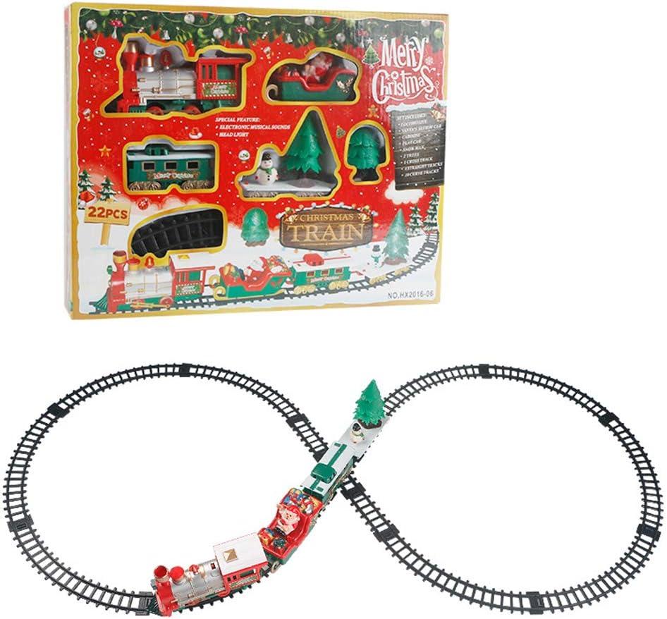 SAMTITY Juego de Tren eléctrico de Tren navideño Juego de Juguete de Tren para vagones para niños Carretera de Carreras con Sonido y luz realistas - Funciona con baterías
