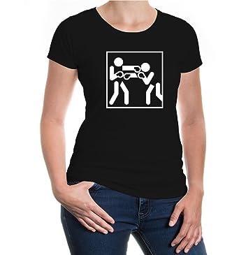 Girlie T-Shirt Boxen-Piktogramm-XS-Black-White