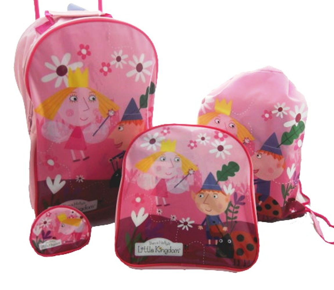 4PCS BEN AND & HOLLY GIRLS TROLLEY WHEELED BAG LUGGAGE SET TROLLEY BACKPACK NEW