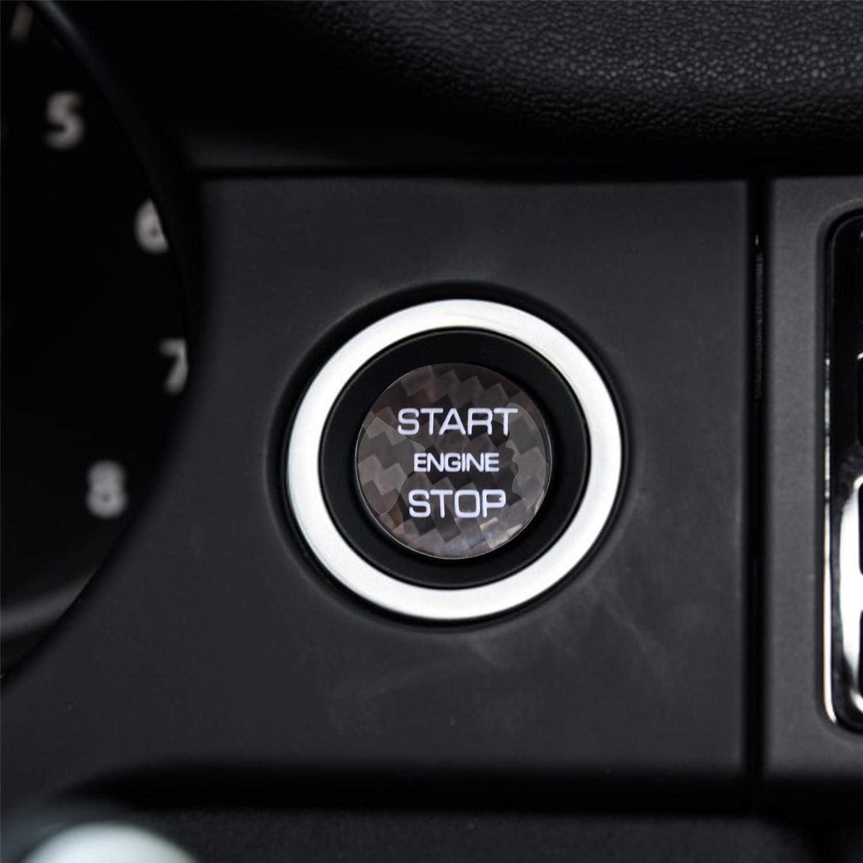 M.JVisun Black Ignition Starter Switch Sticker For Land Rover Discovery Sport Range Rover Evoque Velar Start Stop Engine Button Cover Genuine Carbon Fiber Material