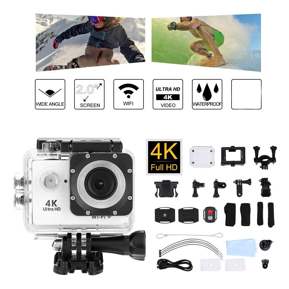 Mugast 2.0 Inch Action Camera WiFi 4K HD Underwater Photography Cameras of 30M Depth with 140° Wide Angle Lens Support 64GB Micro SD Card for Skiing, Swimming, Riding, etc. (White) by Mugast