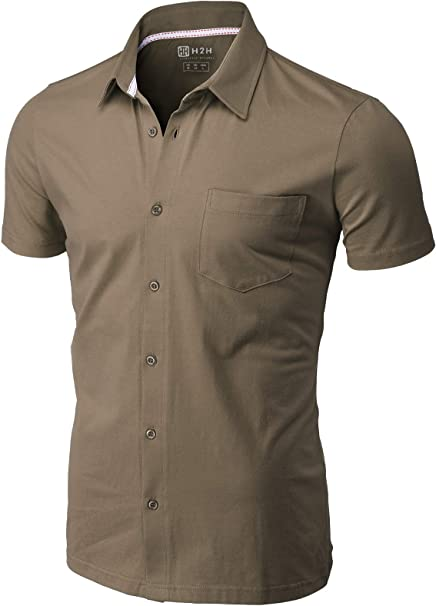 H2H Mens Casual Slim Fit Shirts Short Sleeve Business /& Daily Shirts Basic Designed of Various Styles