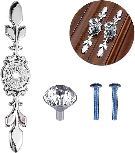 Yardwe 4 Pieces Crystal Cupboard Knobs For Drawer Handle With Screw Vintage Dresser Knobs For Cabinet Furniture Kitchen Handles 17 X 3 5 X 3 Cm Silver Amazon De Kuche Haushalt