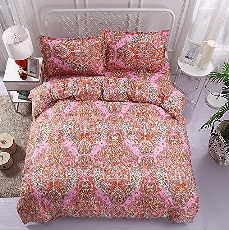 WINLIFE Bohemian Floral Print Duvet Cover Set Soft Lightweight Microfiber Bedding (Blue Full)