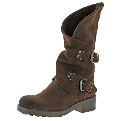 2f5707ca1d35 Coolway Alida - Brown Suede Slouchy Dual Buckle Boot - Size  36