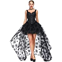 Killreal Women's Victorian Gothic Overbust Corset Bustier with Hi-Lo Skirt Set