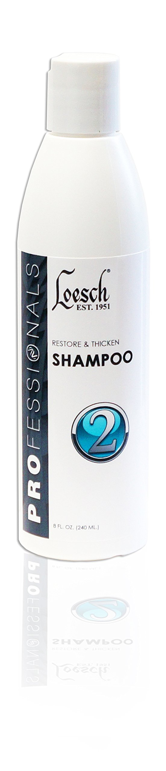 8 oz Loesch Professional Restore & Thicken Shampoo, four times stronger. Cleaning effects including removes scbaccous buildup and penetrates hair to condition and thickens hair shaft.