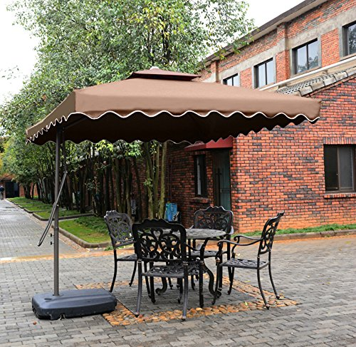 "Tylor's Garden 8-1/2 Ft Cantilever Outdoor Patio Umbrella, UV Resistant, 100% Polyester, Coffee - Make more shade - 8-1/2 ft diameter provides adequate coverage for 4-seater round or square 36"" and smaller tables Only including cross base, weights is not included 1.9"" Rust- Free powder coated premium steel lightweight pole, fit most of patio umbrella base - shades-parasols, patio-furniture, patio - 61qpvzczNNL -"