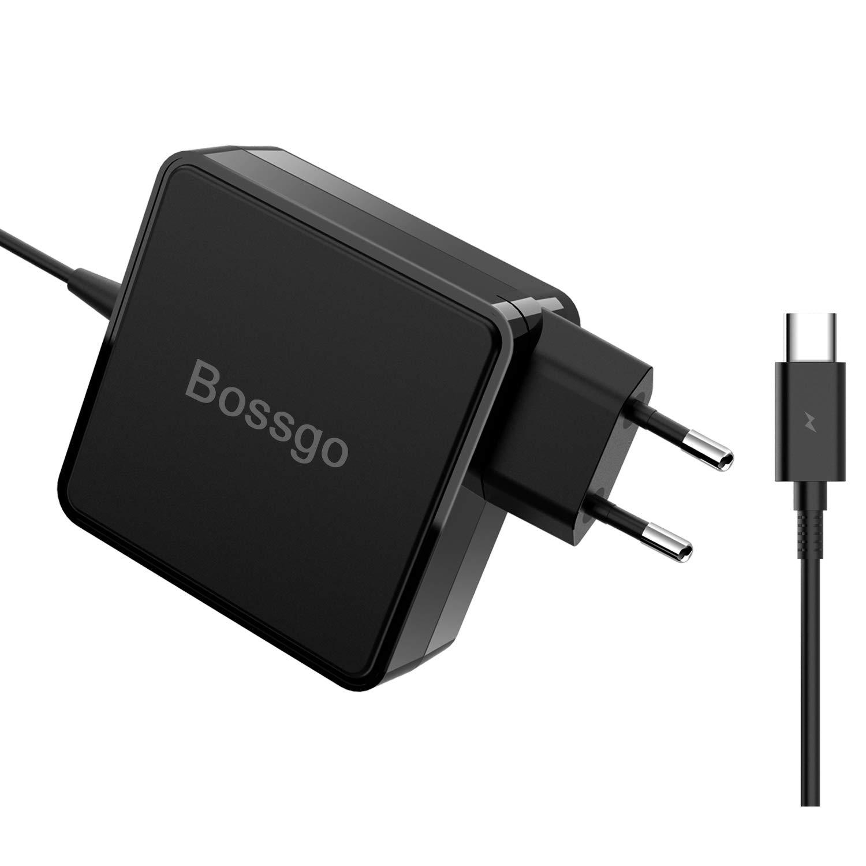 bossgo USB C Cargador Adaptador de Corriente de 65W Type C PD Adaptador Cargador portátil para MacBook Pro Lenovo ThinkPad Yoga Samsung MIbook Google ...